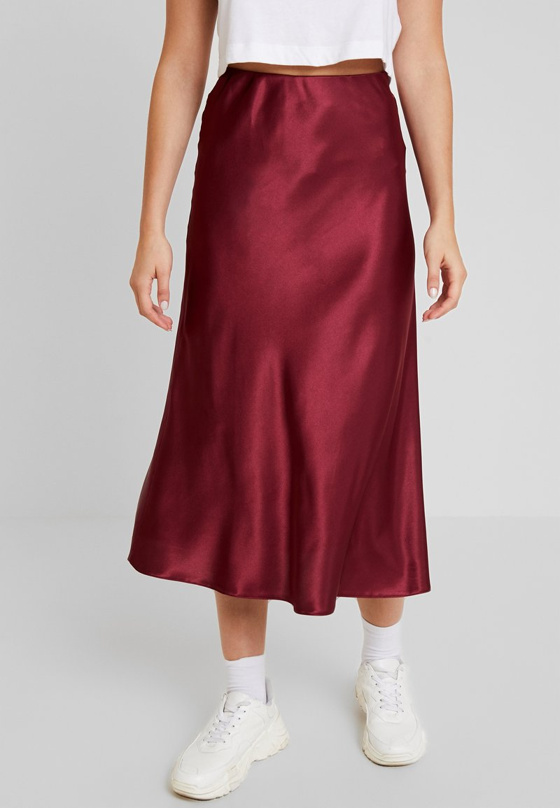 New Look - BIAS CUT MIDI SKIRT - Maxi skirt - burgundy