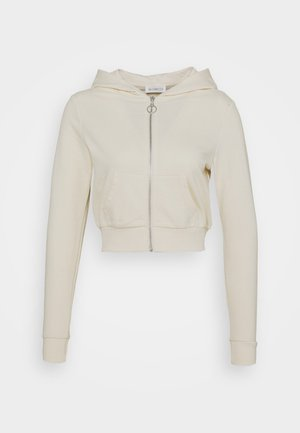 CROPPED ZIP UP HOODIE JACKET - Sudadera con cremallera - white