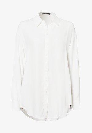 MIT SEITLICHEM SCHRIFTBAND - Button-down blouse - off white