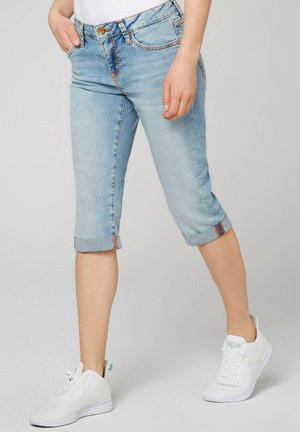 MIT BREITEN KONTRASTNÄHTEN - Denim shorts - blue used