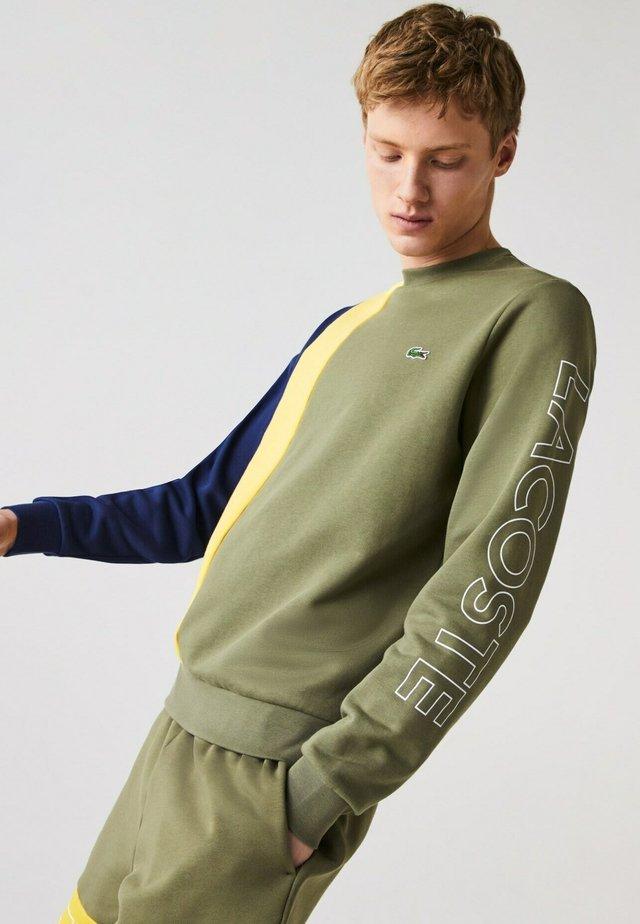 Sweatshirt - khaki grün / gelb / blau