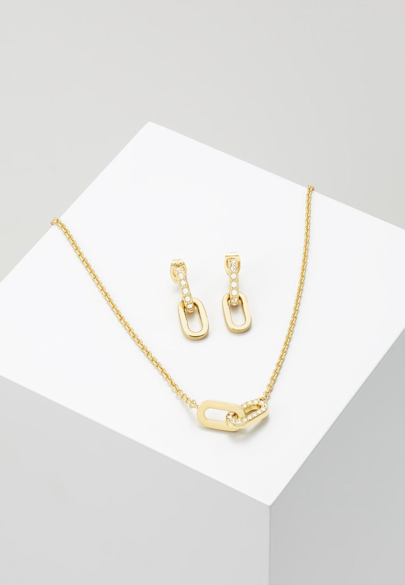 DKNY - PAVE DOUBLE OVAL LINK PENDANT SET - Earrings - gold-coloured