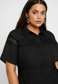 Fashion Union Plus - MIDI DRESS WITH INSERT AND BELT DETAIL - Shirt dress - black