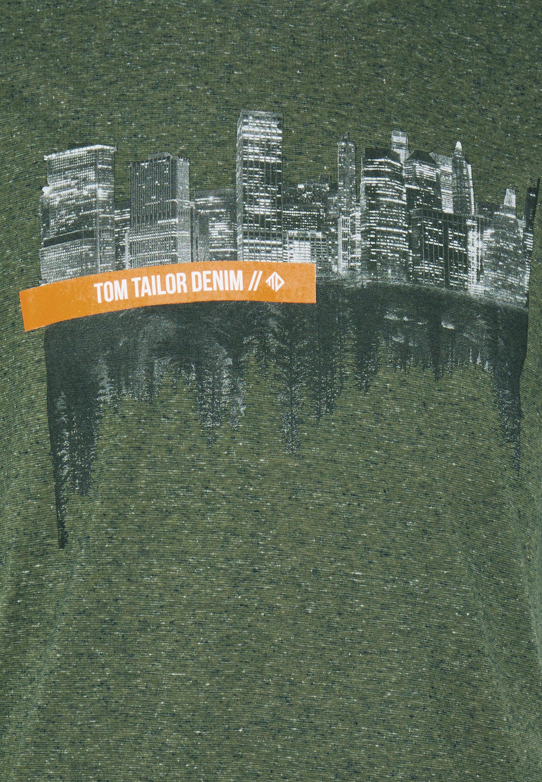 TOM TAILOR DENIM FOTOPRINT - Print T-shirt - dry greyish olive melange h4XTJ