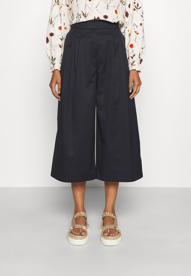 CROPPED TAILORED TROUSER - Trousers - navy