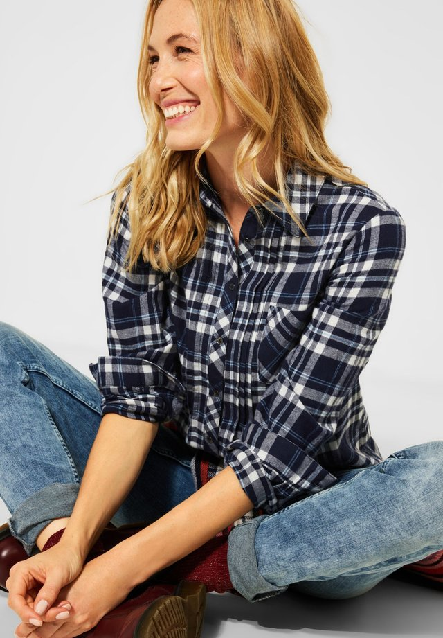 HEMDBLUSE MIT KARO - Button-down blouse - blau