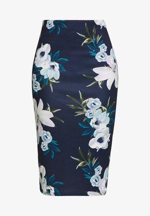 FLORAL SKIRT - Pencil skirt - navy