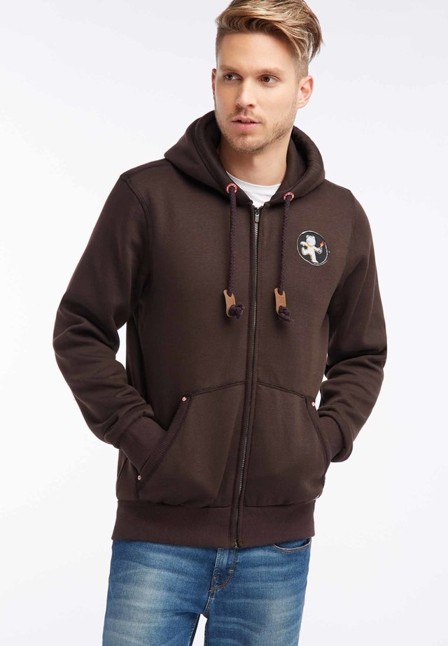 veste en sweat zippée - brown