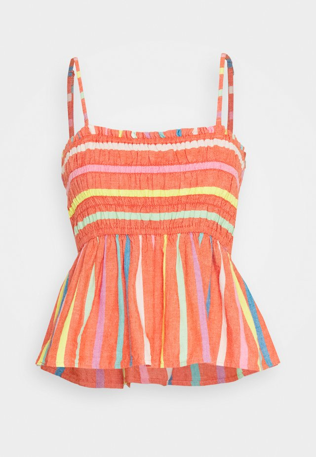 STRIPE SMOCKED TUBE - Bluzka - red