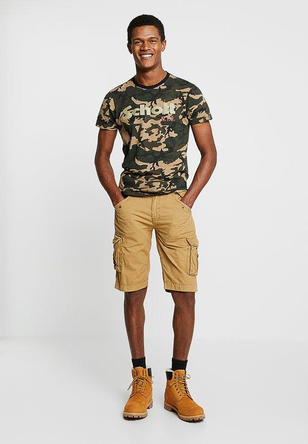 Schott LOGO 2 PACK - T-shirt z nadrukiem - camo/black/zielony melanż Odzież Męska MKJZ
