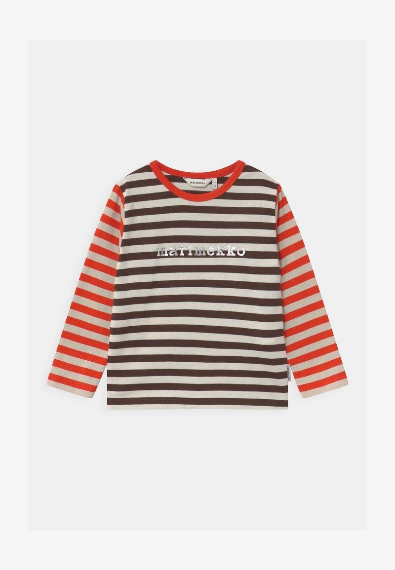 Marimekko - VEDE TASARAITA UNISEX - T-shirt à manches longues - dark brown/off white