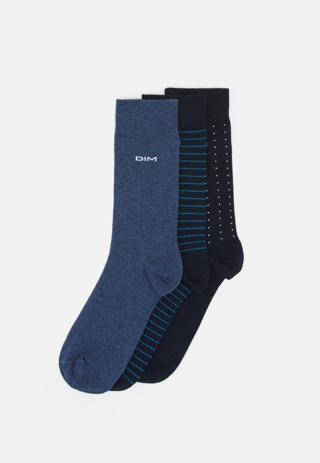 RAYURES ET POIS 3 PACK - Ponožky - navy blue/jean