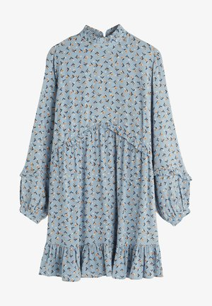 FRILLY COLLAR FLORAL LONG SLEEVE  - Tunic - blue