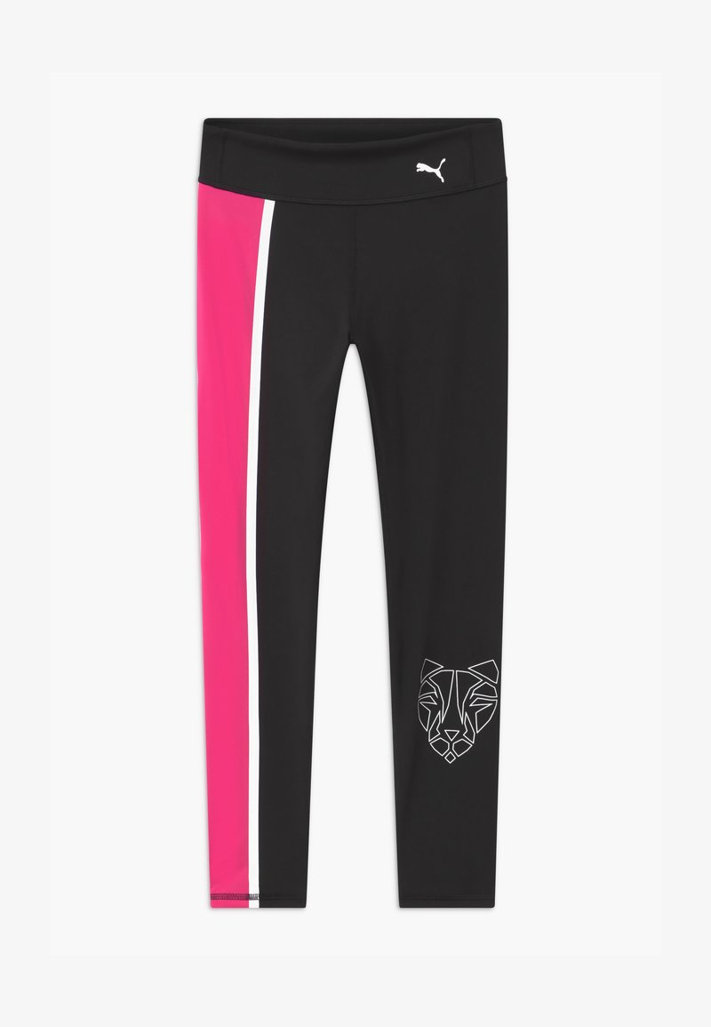 Puma - RUNTRAIN - Leggings - puma black/luminous pink