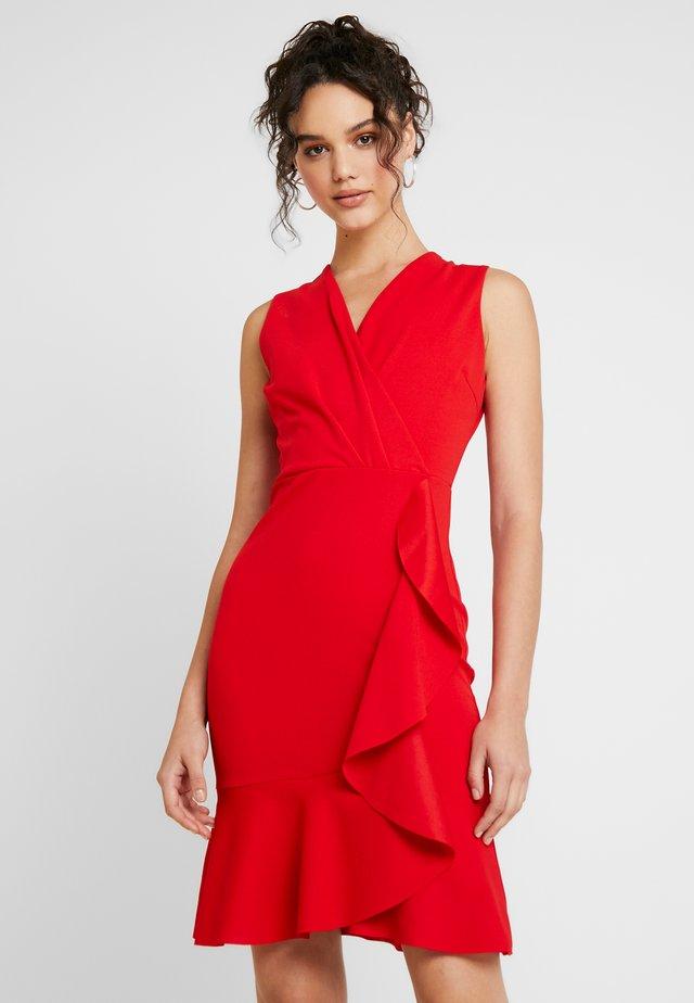FRILL MIDI DRESS - Vestido de cóctel - red