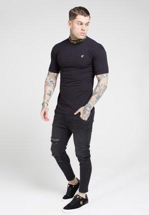 CHAIN RIB COLLAR - T-paita - black