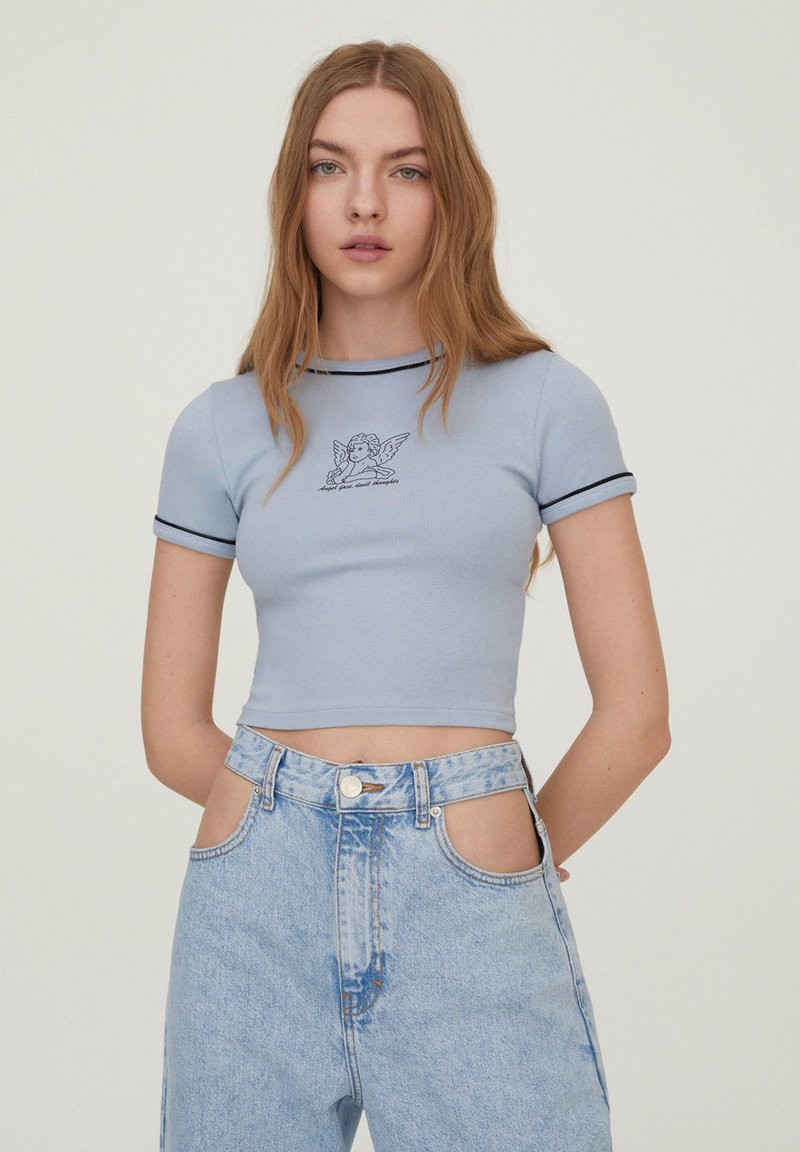 PULL&BEAR - Print T-shirt - light blue