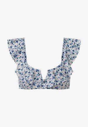 DITSY FLORAL RUFFLES - Bikini top - light blue