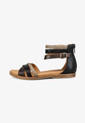 Ankle cuff sandals - black/gold