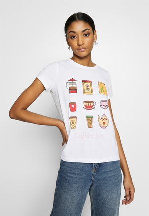 ONLHAPPY ALL - Camiseta estampada - bright white/coffeine lover