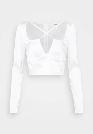 SATIN CROSS STRAP LONG SLEEVE CROP  - Blouse - white