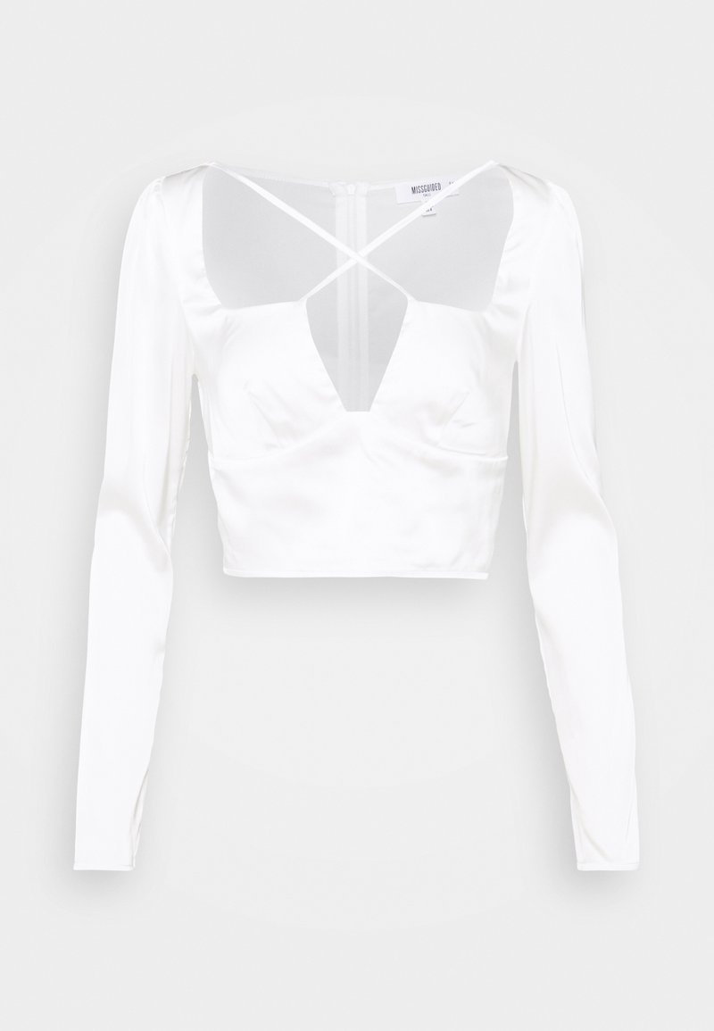 Missguided Tall - SATIN CROSS STRAP LONG SLEEVE CROP  - Blouse - white