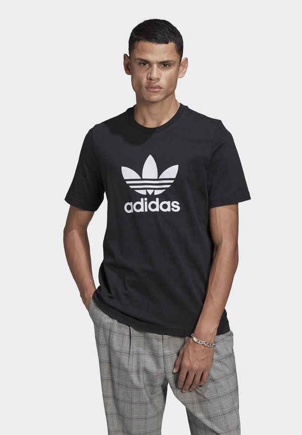 adidas Originals TREFOIL UNISEX - T-shirt z nadrukiem - black/white/czarny Odzież Męska JPTB