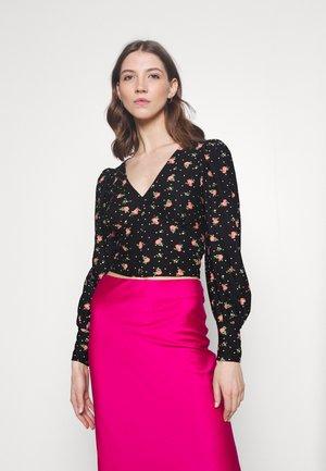 FOCHETTE V NECK TOP - Long sleeved top - black