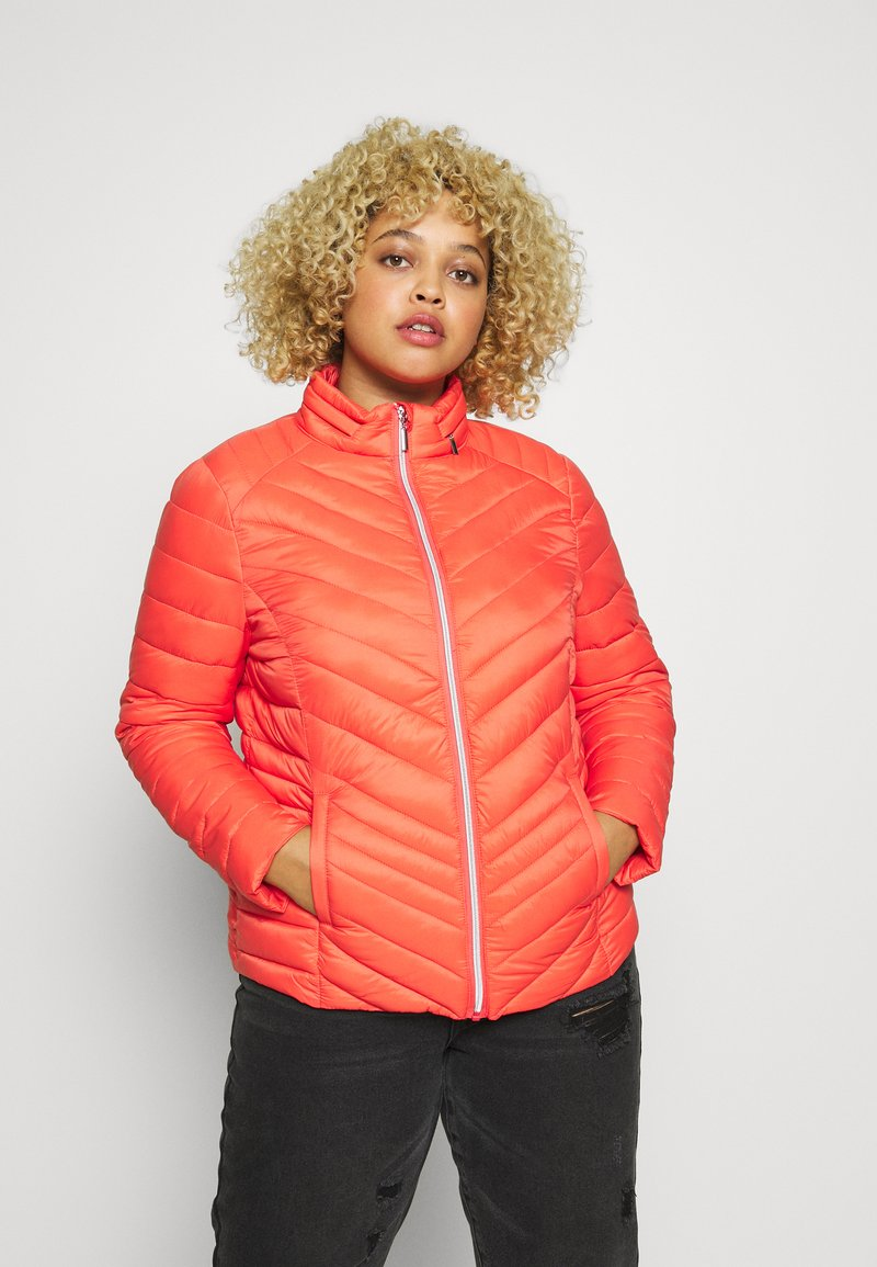 Simply Be - PACKAWAY SHORT LIGHTWEIGHT PADDED JACKET WITH CONCEALED HOOD (SH - Light jacket - coral