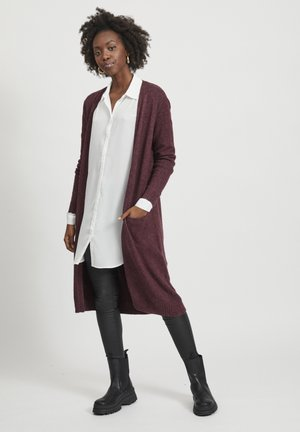 VIRIL LONG CARDIGAN  - Vest - winetasting/melange
