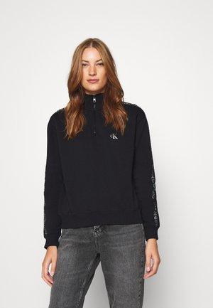 OUTLINE LOGO MOCK NECK ZIP - Sweatshirt - ck black