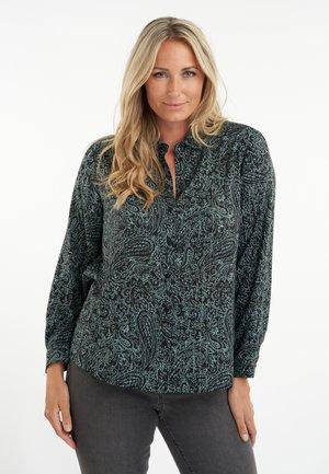 Button-down blouse - multi green khaki
