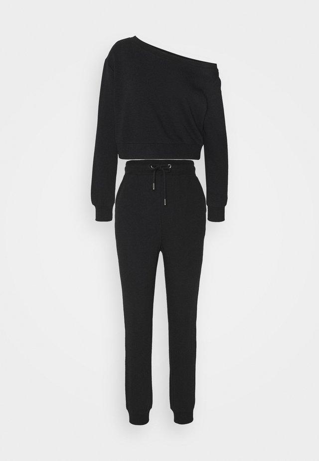 SET OFF SHOULDER SWEAT & REGULAR JOGGER - Bluza - black