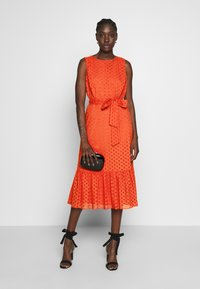 Wallis - BRODERIE TIERED MIDI DRESS - Day dress - red - 2