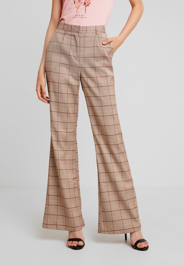 CHECK TROUSERS - Trousers - beige