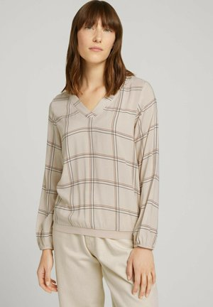 BLOUSE WITH TAPE DETAILS - Long sleeved top - beige