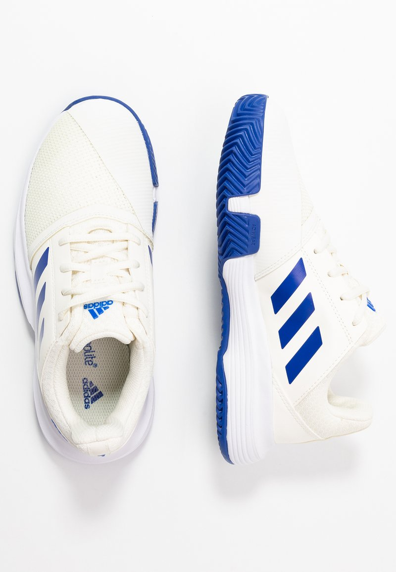 adidas Performance - COURTJAM - Clay court tennis shoes - offwhite/royal blue/footwear white