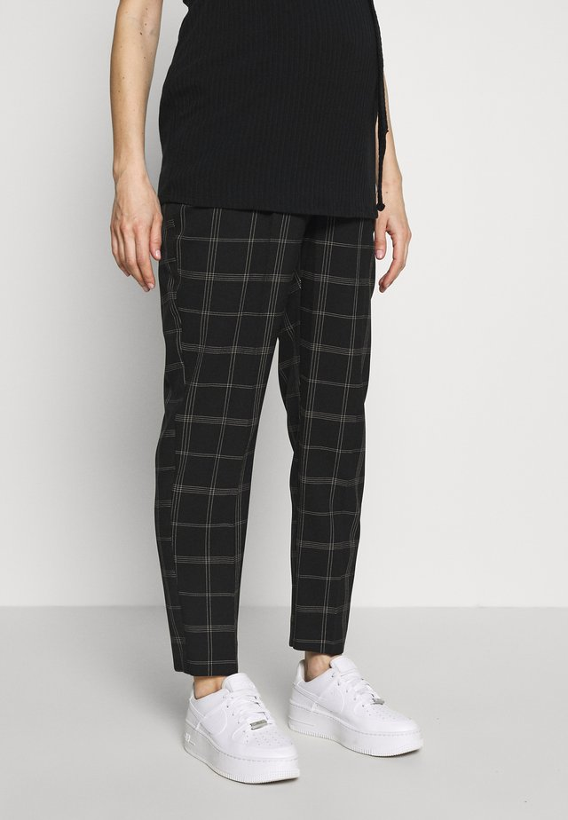 MATERNITY GRID CHECK ANKLE GRAZER - Pantaloni - black