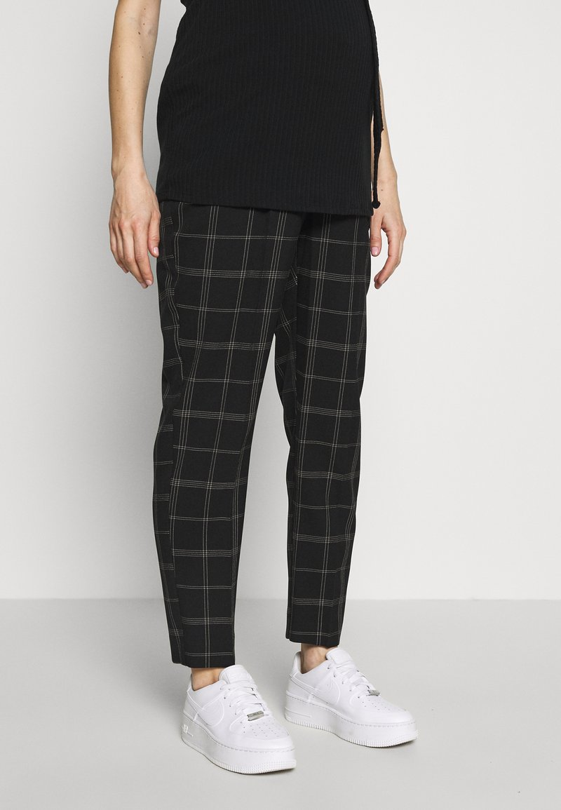 Dorothy Perkins Maternity - MATERNITY GRID CHECK ANKLE GRAZER - Trousers - black