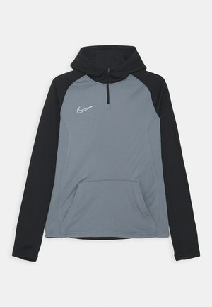 ACADEMY DRIL HOODIE - Bluzka z długim rękawem - smoke grey/black/volt/light smoke grey