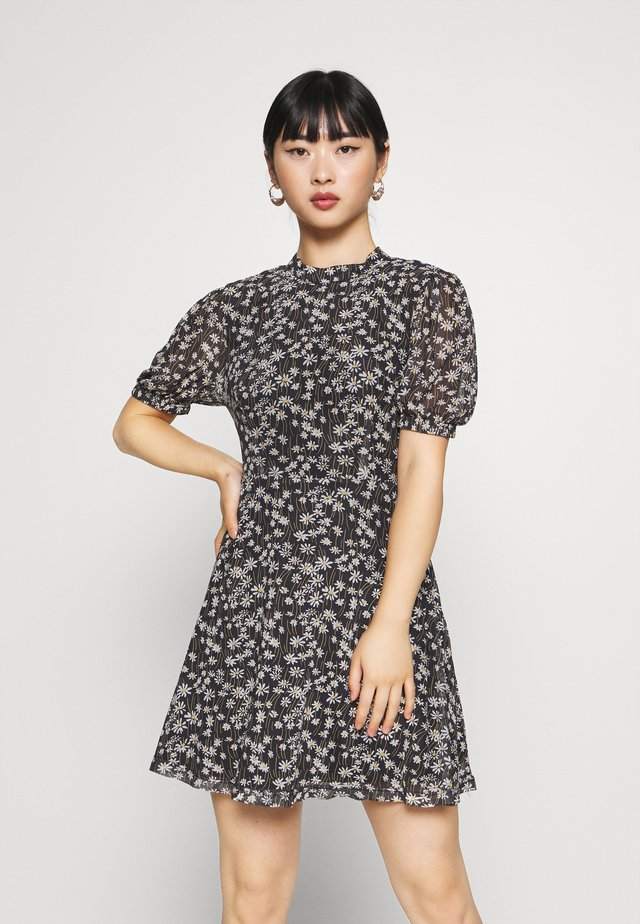 EXCLUSIVE PRINTED PUFF SLEEVE - Korte jurk - black