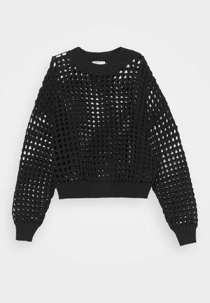 CROCHET JUMPER WITH LONG SLEEVES - Svetr - black