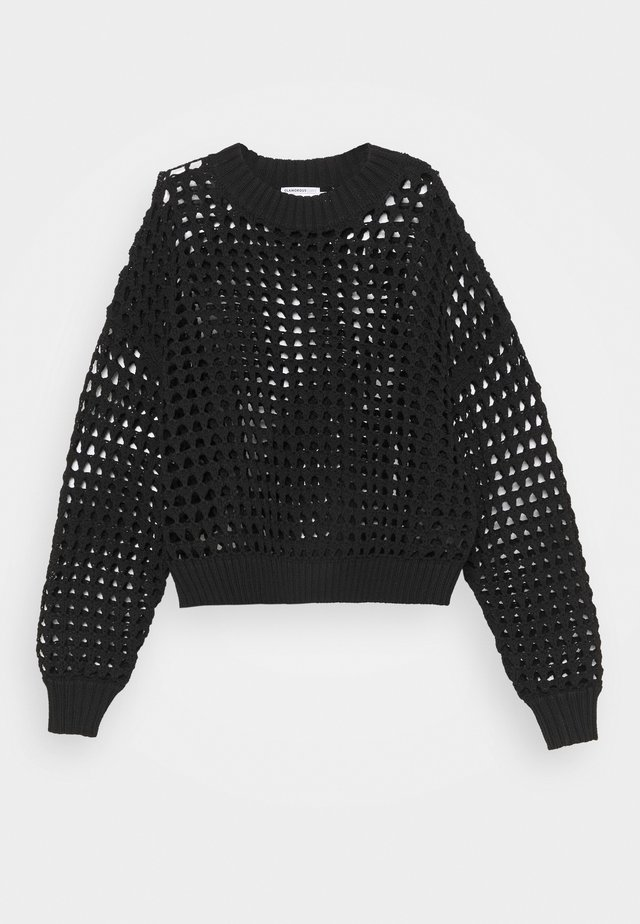 CROCHET JUMPER WITH LONG SLEEVES - Jumper - black