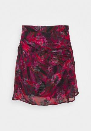 PASCOT - Mini skirt - fushia/black/red