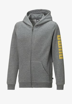 Zip-up hoodie - medium gray heather-yellow