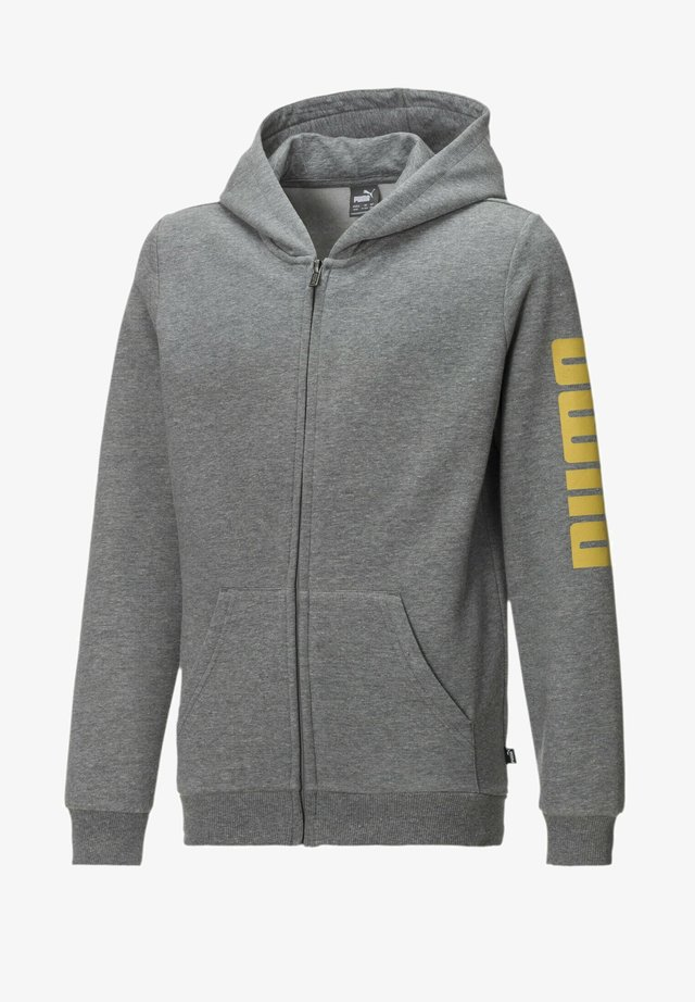 Huvtröja med dragkedja - medium gray heather-yellow