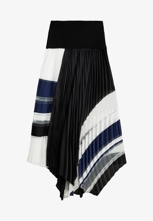 PLEATED SKIRT WAIST BAND - A-line skirt - black/navy
