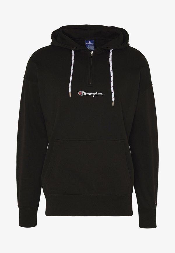 Champion Rochester ROCHESTER HALF ZIP HOODED - Bluza z kapturem - black/czarny Odzież Męska QJGM