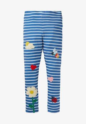 MIT APPLIKATION - Leggings - Trousers - elisabethanisches blau/naturweiß, blumenmuster