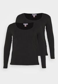 Anna Field Curvy - 2 PACK - Camiseta de manga larga - black - 0